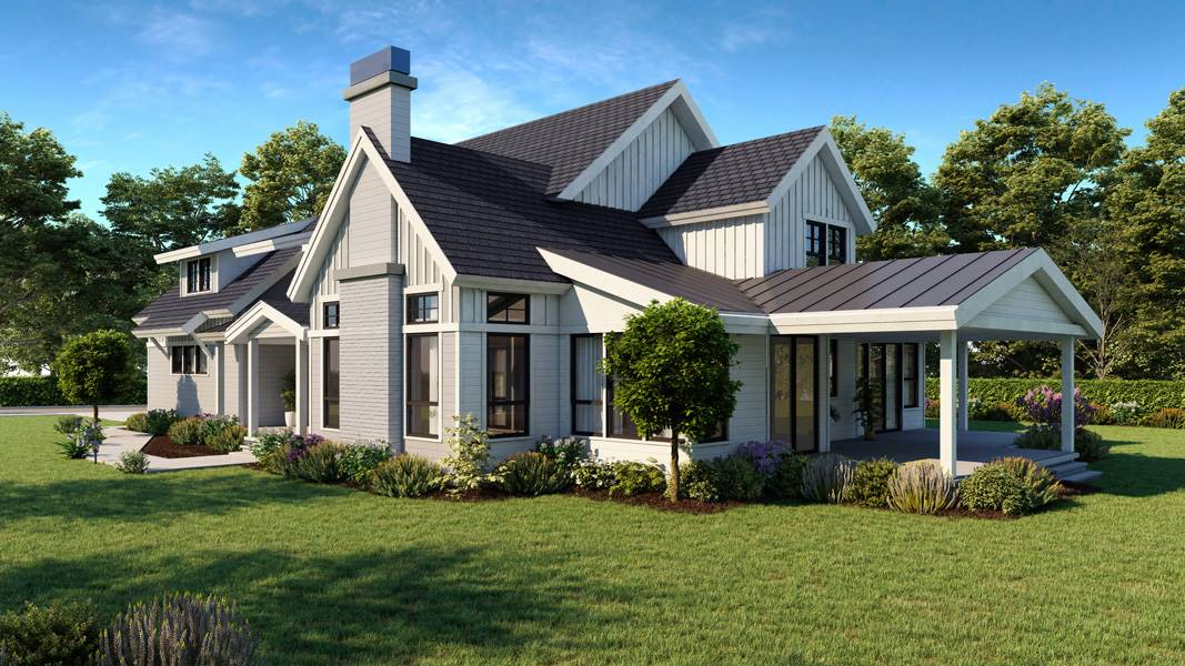 Side View image of Cont. Farmhouse 847 House Plan