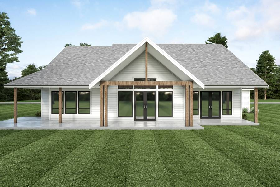 Rear View image of Cont. Farmhouse 851 House Plan
