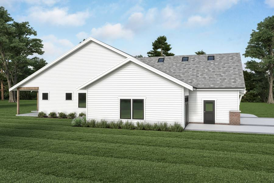 Side View image of Cont. Farmhouse 851 House Plan