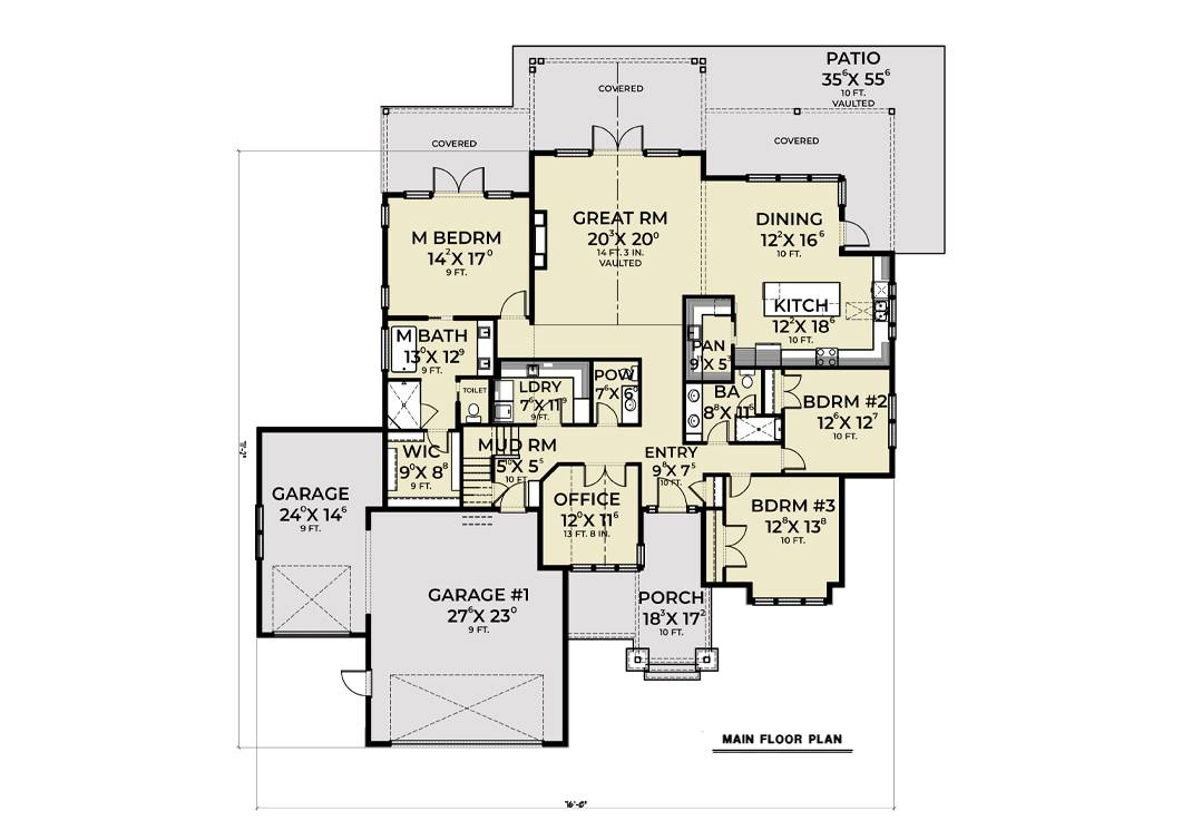 1st Floor image of Cont. Farmhouse 851 House Plan