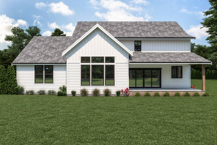 Rear View image of 18-073 Cont. Farmhouse 804 House Plan