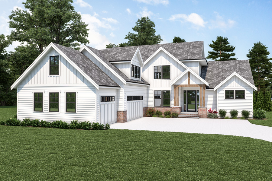 Front View image of 18-073 Cont. Farmhouse 804 House Plan