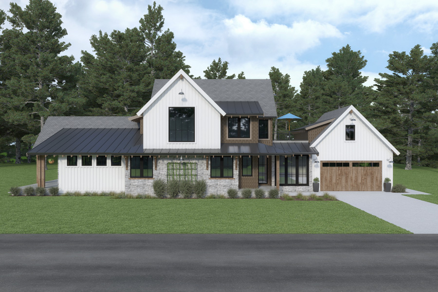 Front View image of Cont. Farmhouse 846 House Plan