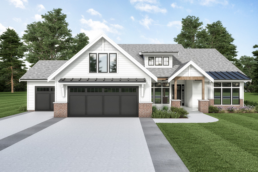 Front View image of Cont. Farmhouse 851 House Plan