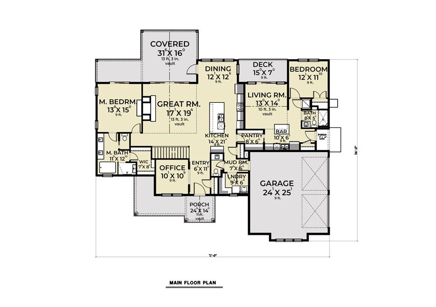 1st Floor image of Cont. Farmhouse 848 House Plan