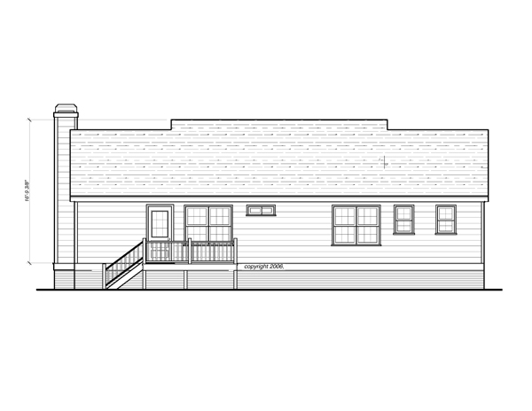 Rear Elevation image of DICKEN II-B House Plan