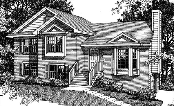 Rendering B&W by DFD House Plans
