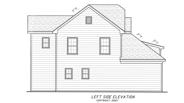 Left Elevation image of Highlands House Plan