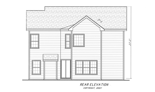 Rear Elevation image of Highlands House Plan