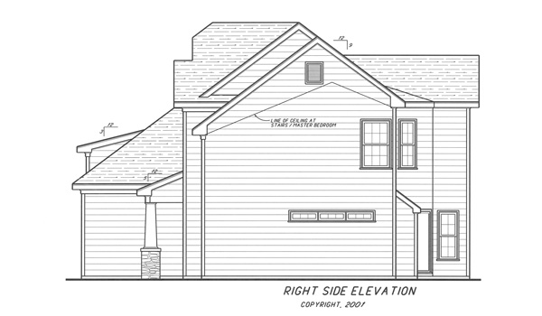 Right Elevation image of Highlands House Plan