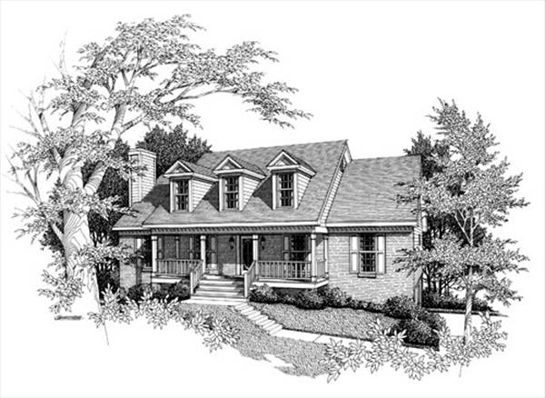 Rendering B&W image of WOODROW House Plan