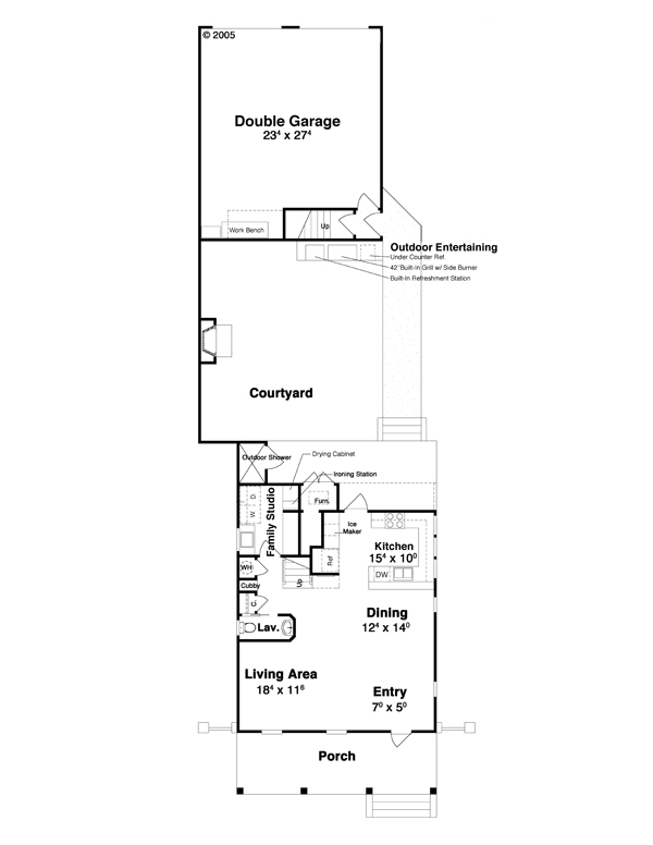 First Floor w/Courtyard by DFD House Plans