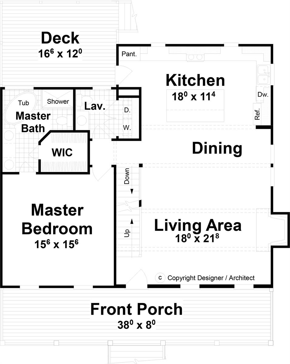 1st Floor image of Farmington House Plan