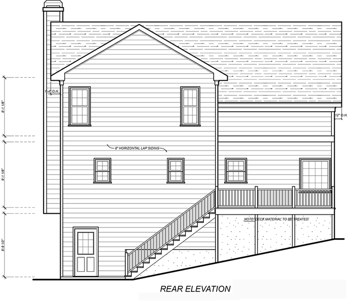 Rear View image of Farmington House Plan