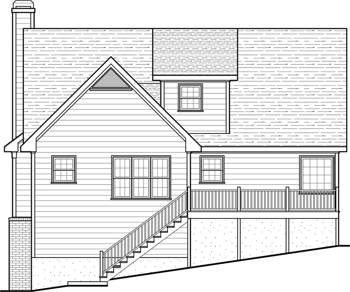 Rear Elevation image of Woodland II House Plan