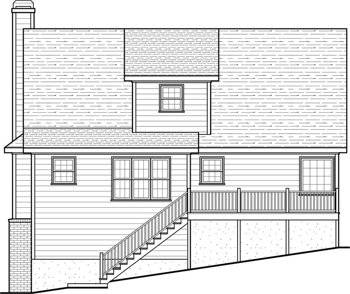 Rear Elevation image of Butler II House Plan