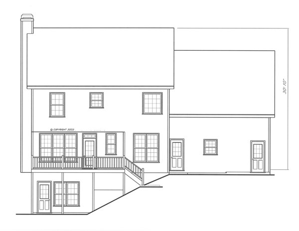 Rear Elevation-Basement Opt. by DFD House Plans