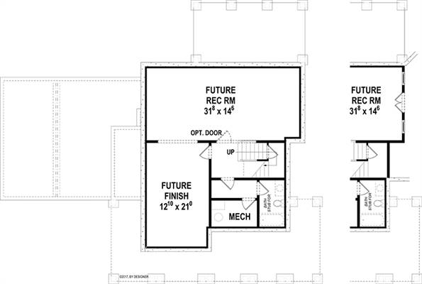 Lower Level image of Hawthorne IIC House Plan