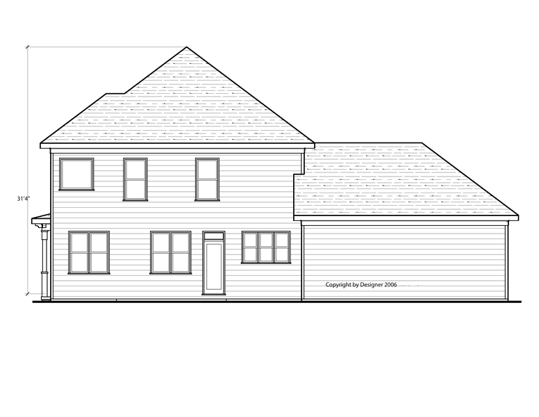 Rear Elevation image of Hawthorne IIC House Plan