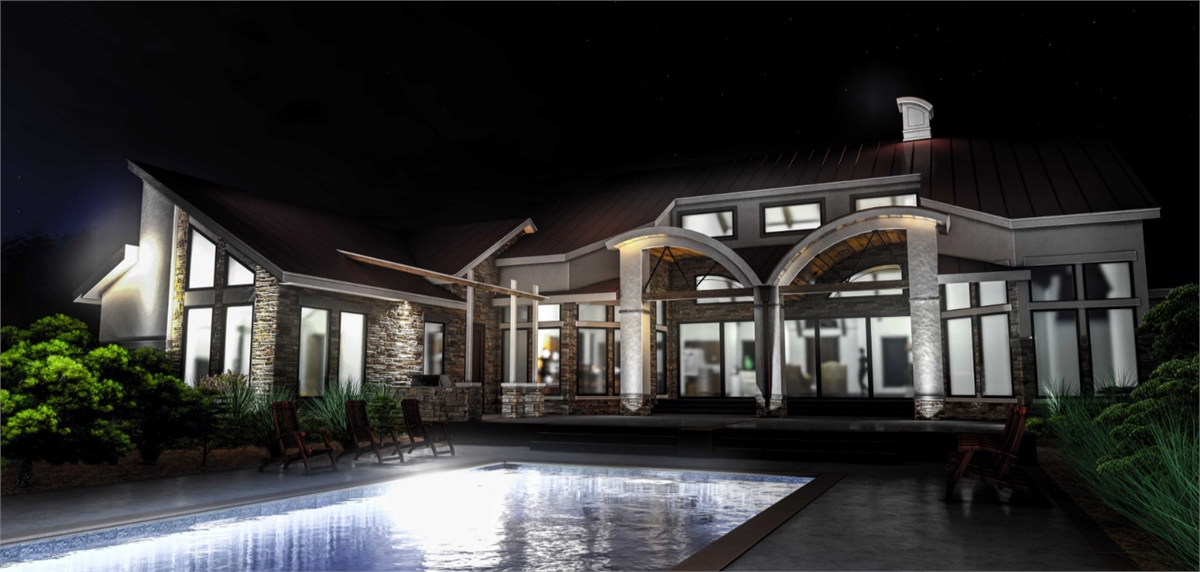 Pool at Night by DFD House Plans