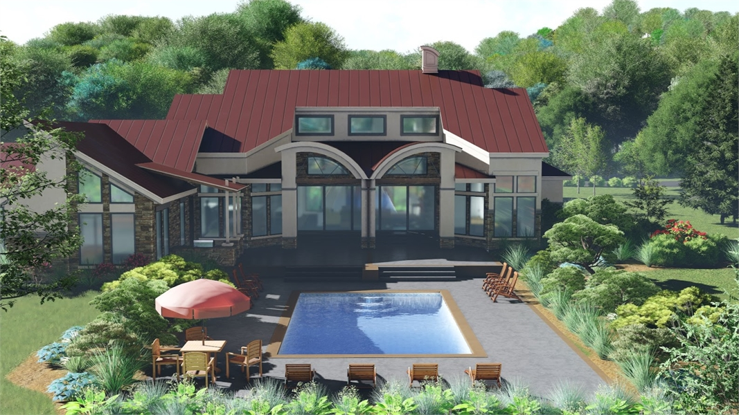 Rear with Pool by DFD House Plans