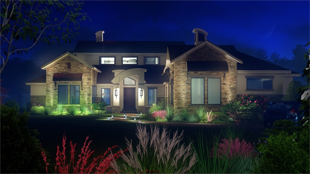 Front at Night by DFD House Plans
