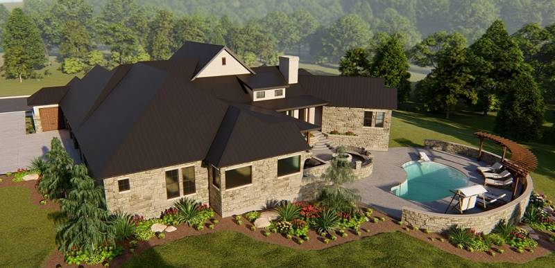Aerial Rear by DFD House Plans