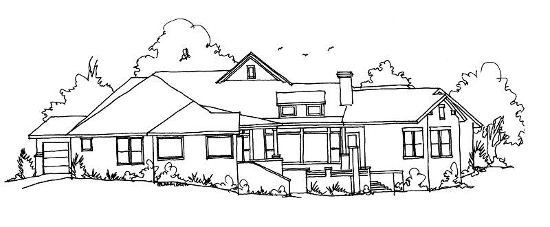 SKETCH REAR by DFD House Plans