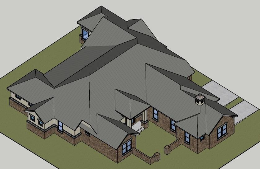 BIRDS EYE VIEW image of Rose Hill House Plan
