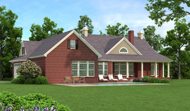 Rear Rendering - Brick by DFD House Plans