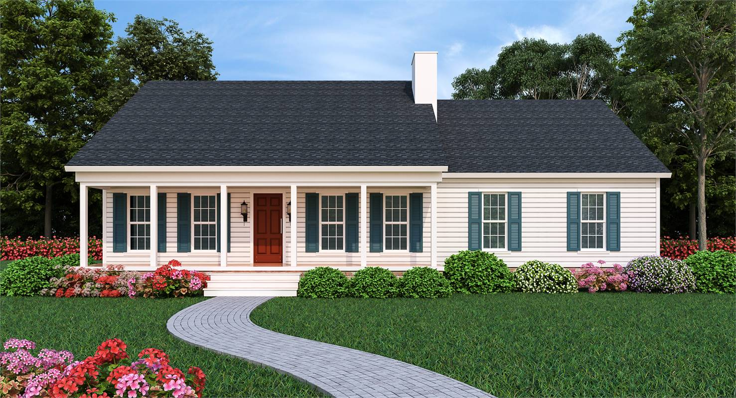 Front Rendering image of Sutherlin Small Ranch House Plan