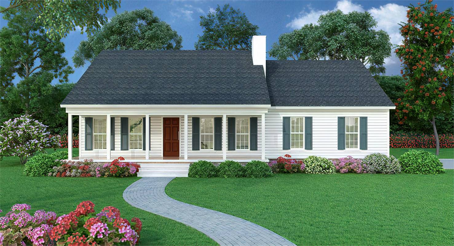 Front View image of Sutherlin Small Ranch House Plan