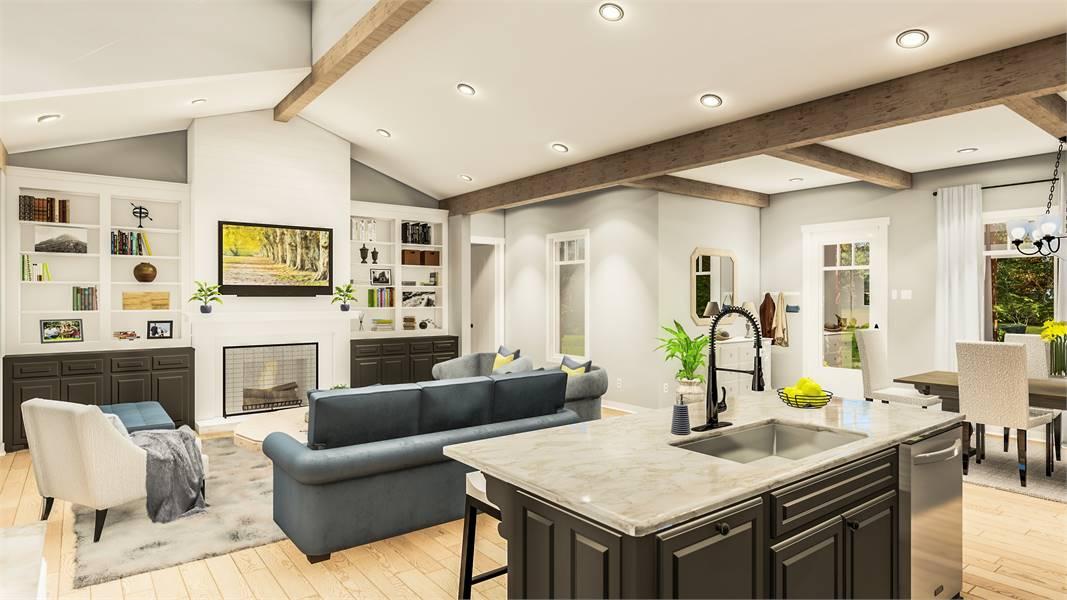 Kitchen & Family Room image of Blueberry Ridge House Plan
