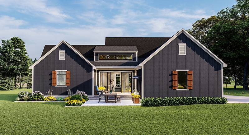 Rear Rendering image of Blueberry Ridge House Plan
