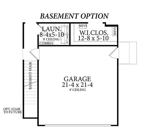 Basement Stair Location image of Cloverwood House Plan