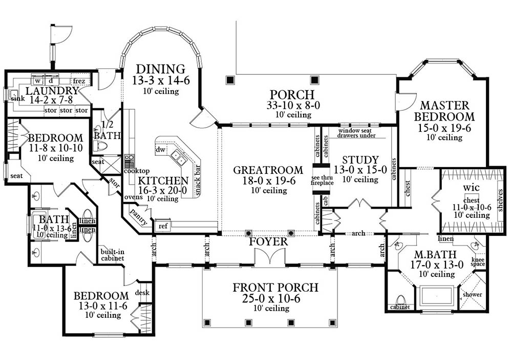 Main Floor Plan image of Bearden House Plan