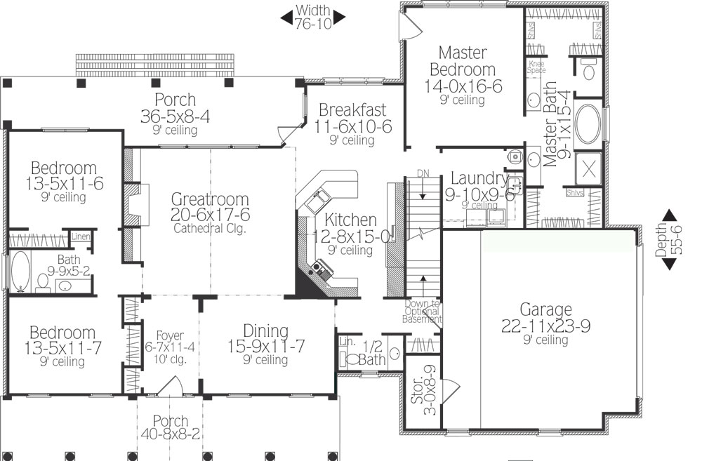 Southern House Plan with 3 Bedrooms and 2.5 Baths - Plan 5558