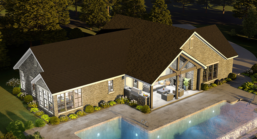 Arial Rear View by DFD House Plans