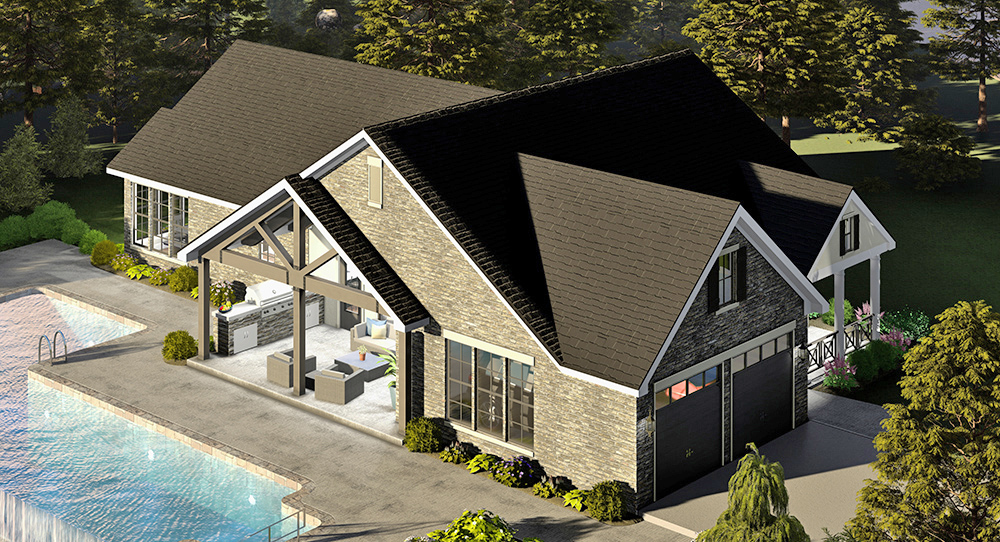 Left Angle Arial View by DFD House Plans