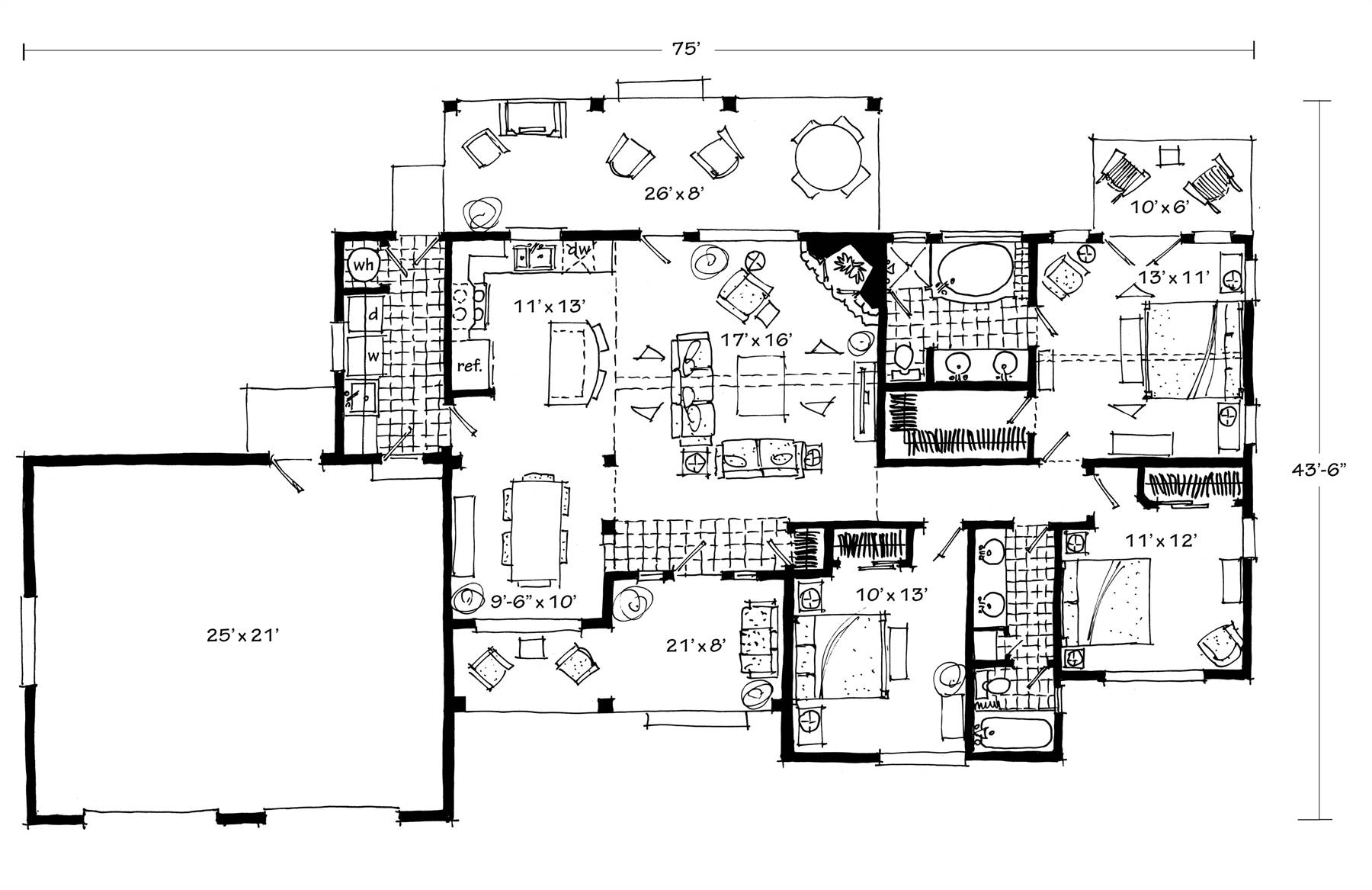 1st Floor Plan image of The Cherokee II House Plan