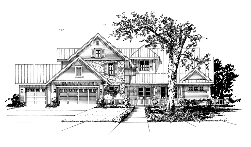 Front View Rendering by DFD House Plans