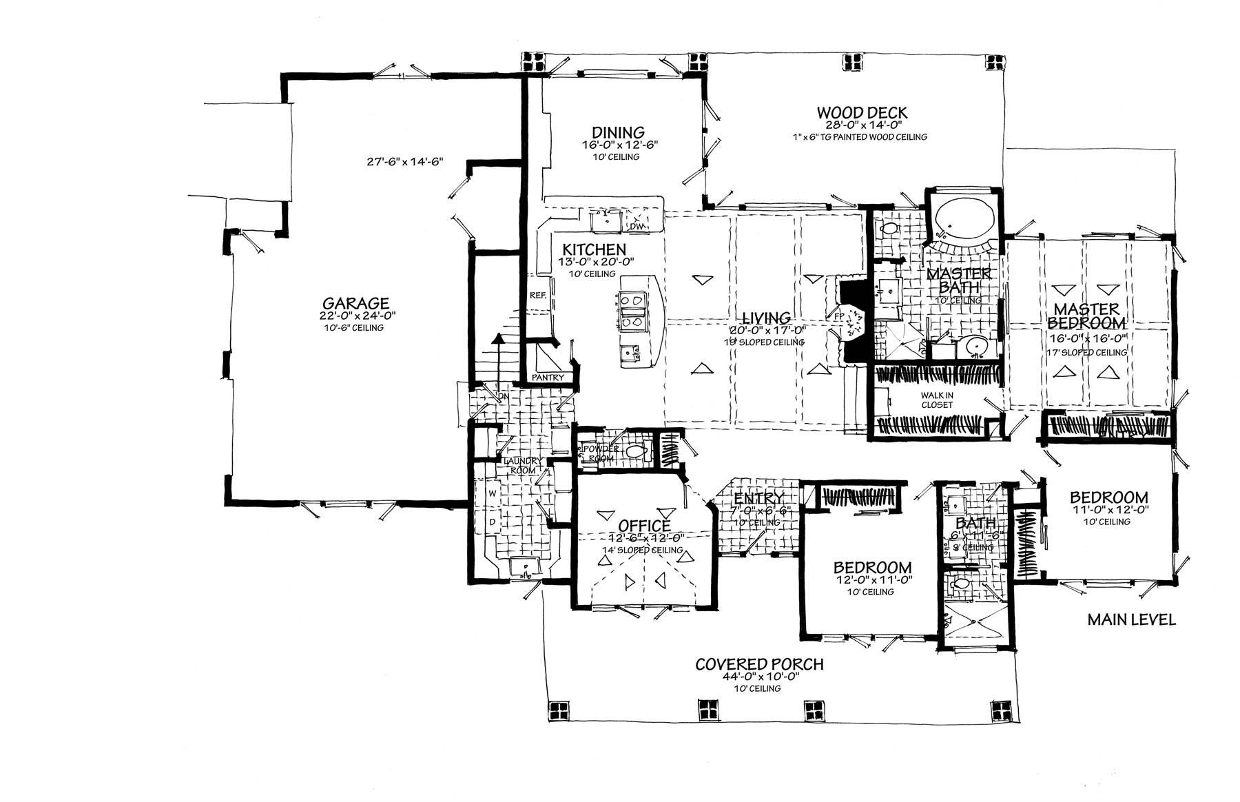 1st Floor Plan Side Entry Garage image of Meadowlark House Plan