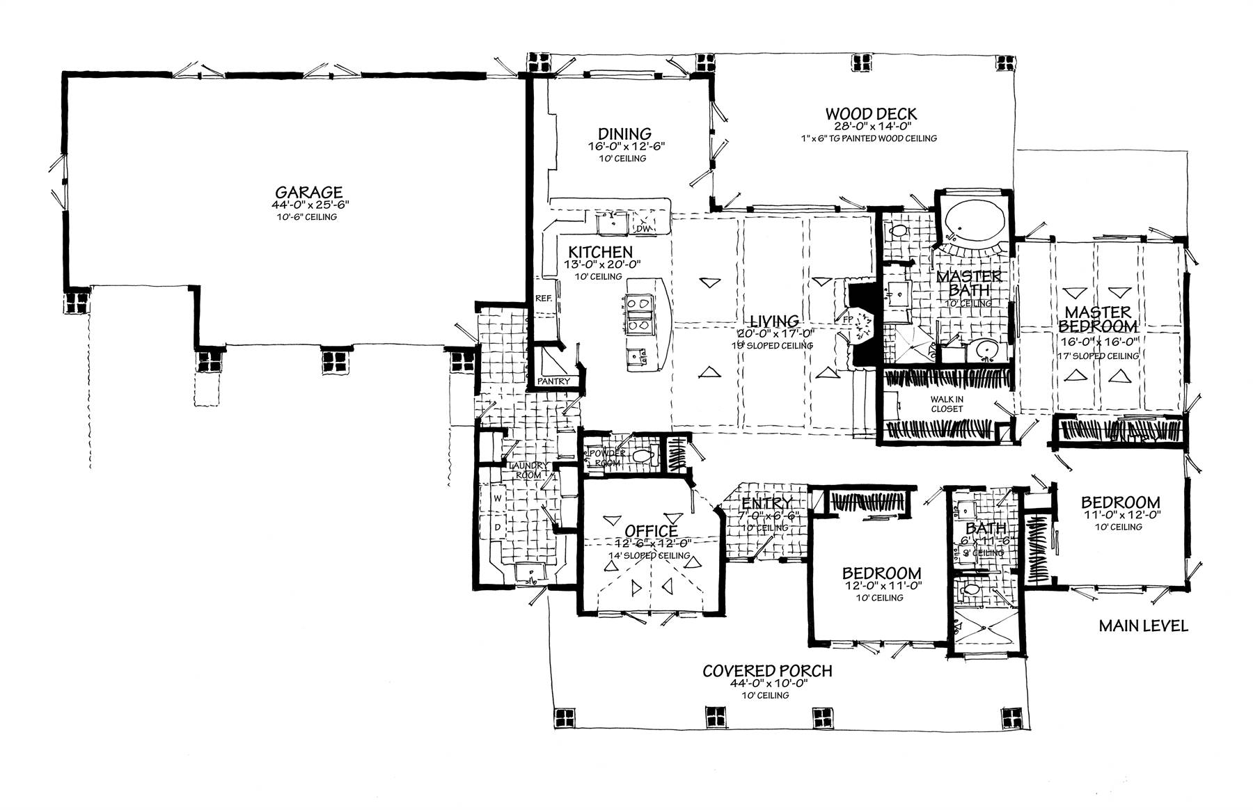 1st Floor Plan no Lower Level image of Meadowlark House Plan
