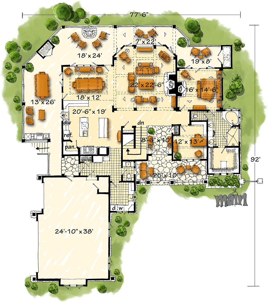 Main Level Floor Plan Image Of Deer Park House