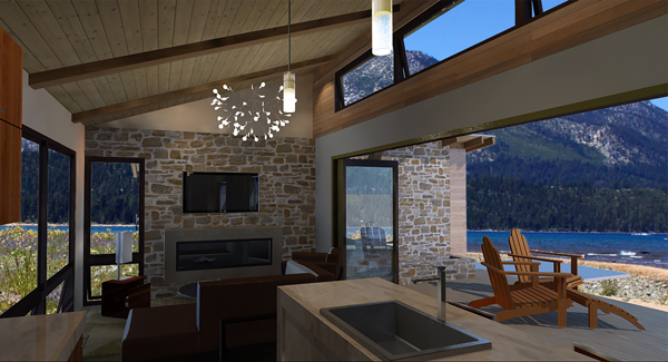 Kitchen to Family Room by DFD House Plans