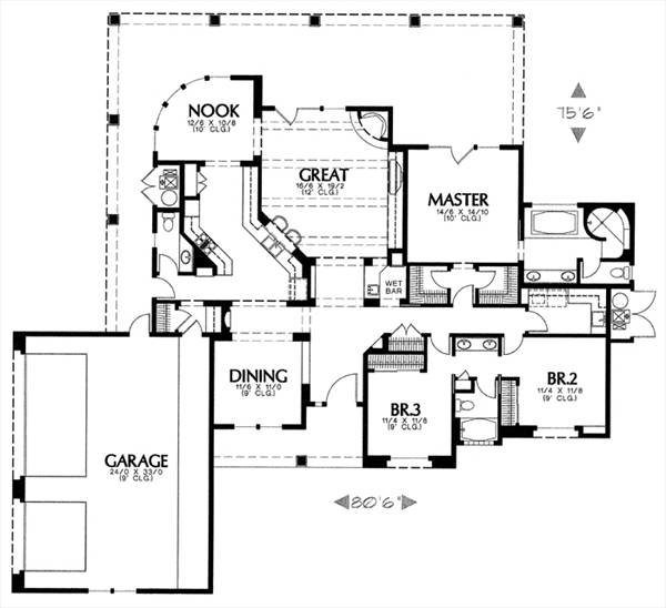 Mediterranean House Plan With 3 Bedrooms And 2 5 Baths