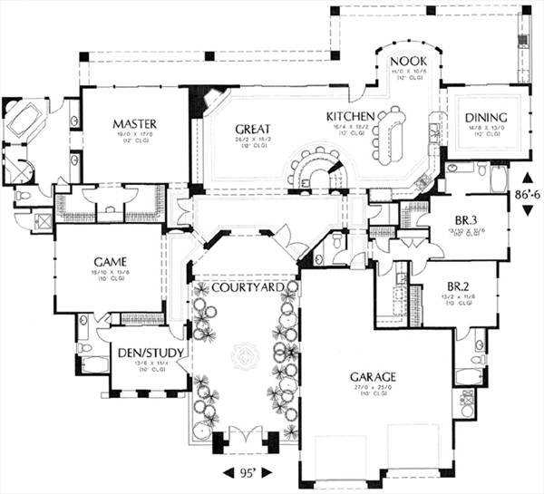 Mediterranean House Plan With 3 Bedrooms And 4 5 Baths
