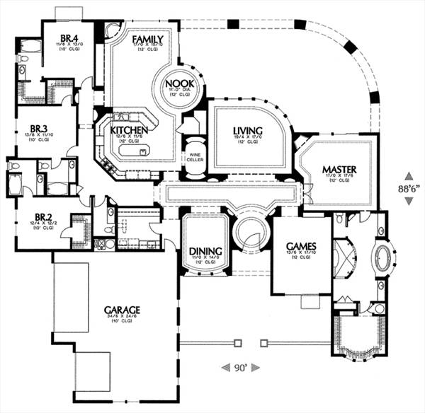 Mediterranean House Plan With 4 Bedrooms And 4 5 Baths