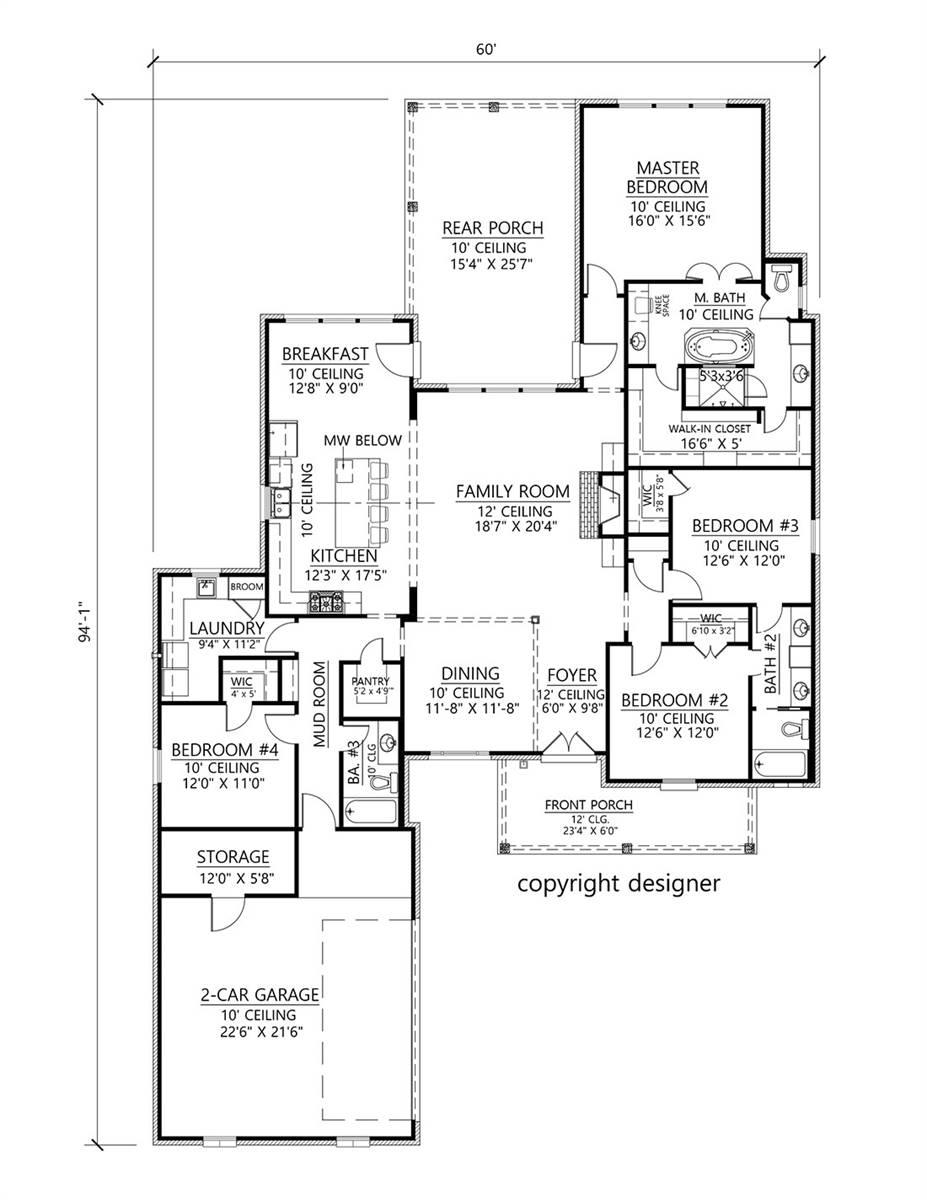 1st Floor image of The Oak Grove House Plan