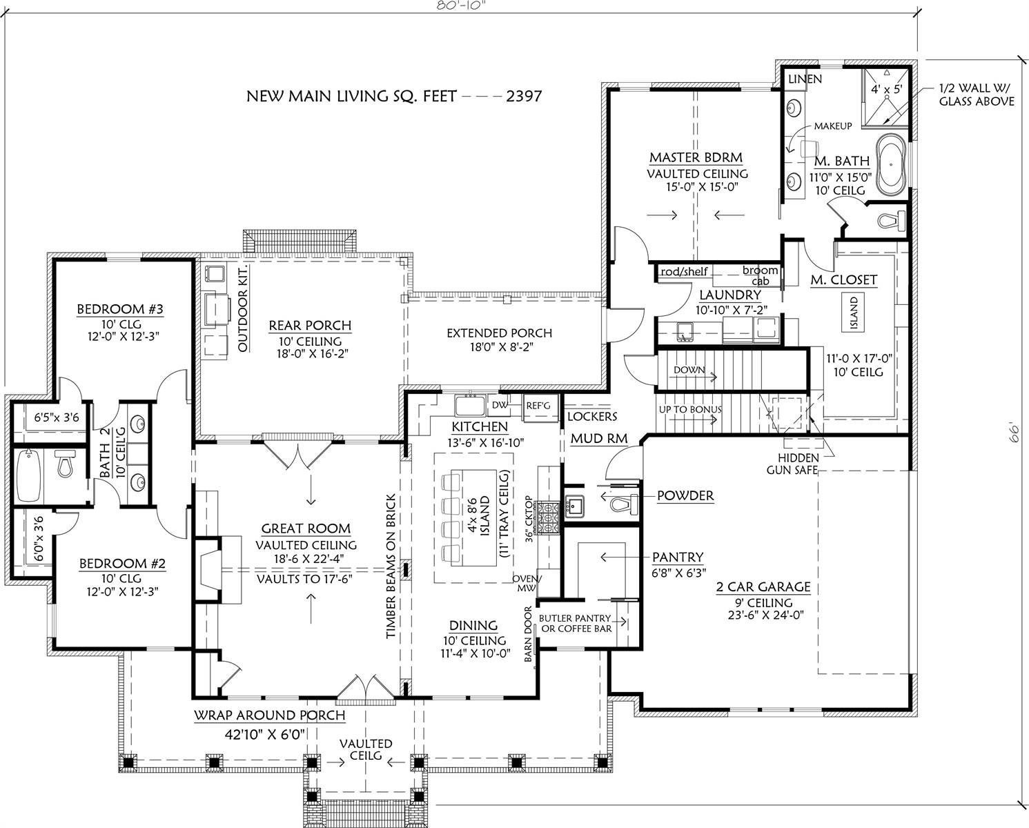 1st Floor w/Basement Stairs image of Cottageville House Plan